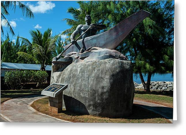 Bronze Statue Of A Chamorro Chief Greeting Card by Michael Runkel