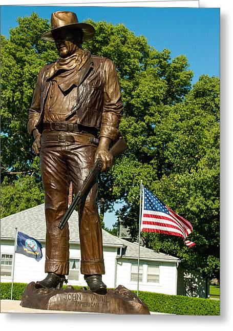 Geobob Greeting Cards - Bronze Statue of John Wayne Actor in Birthplace of Winterset Madison County Iowa Greeting Card by Robert Ford