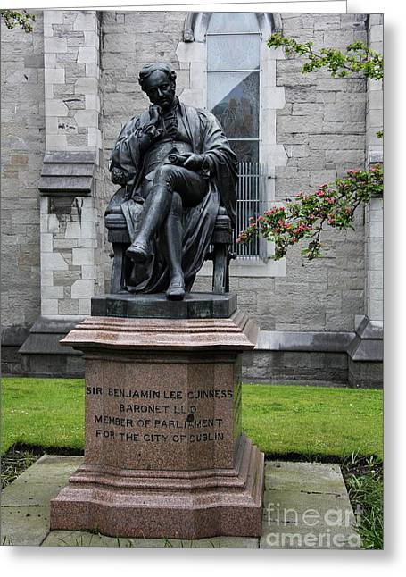 Bronze Statue Of Sir Benjamin Lee Guinness  Greeting Card by Christiane Schulze Art And Photography
