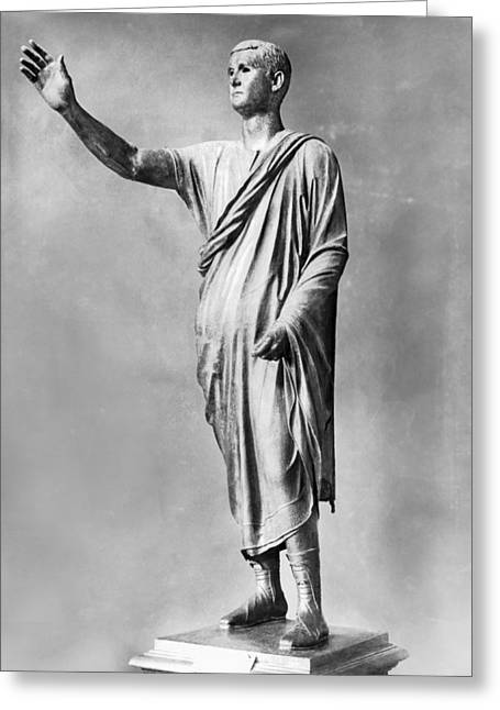 "Orator Greeting Cards - Bronze Statue Of ""The Orator"" Greeting Card by Underwood Archives"