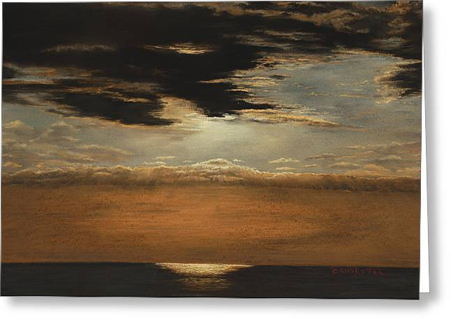 Costa Pastels Greeting Cards - Bronze Sunset Greeting Card by Angela Bruskotter