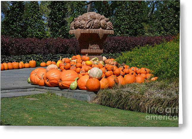 Ruth Housley Greeting Cards - Bronze Urn with Pumpkins and Gourds  Greeting Card by Ruth  Housley