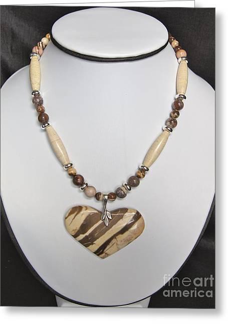 Zebra Jewelry Greeting Cards - Bronze Zebra Jasper Heart Greeting Card by Megan Cohen