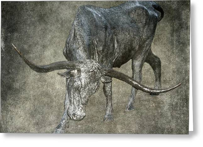 Steer Greeting Cards - Bronzed Longhorn Greeting Card by Angie Vogel