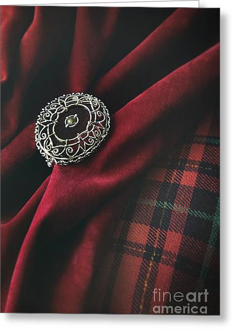 Cloth Greeting Cards - Brooch with red velvet and green plaid Greeting Card by Sandra Cunningham