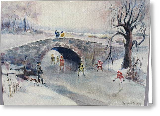 Hockey Paintings Greeting Cards - Brook Hockey in NH Greeting Card by Dorothy Campbell Therrien