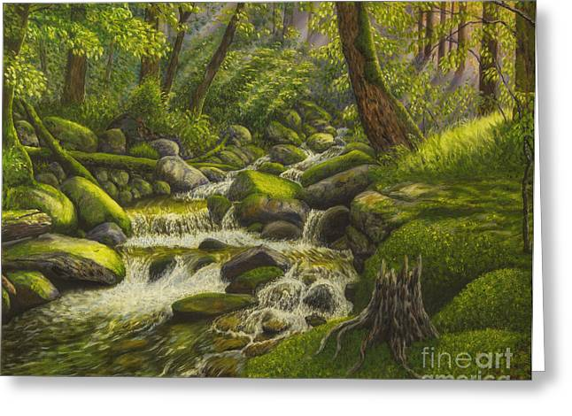 Harmonious Paintings Greeting Cards - Brook in the forest Greeting Card by Veikko Suikkanen