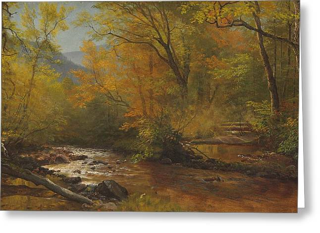 Atmospheric Greeting Cards - Brook in woods Greeting Card by Albert Bierstadt