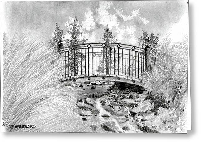 Florida Bridge Drawings Greeting Cards - Brook to Lake MIra Mar Greeting Card by Jim Hubbard