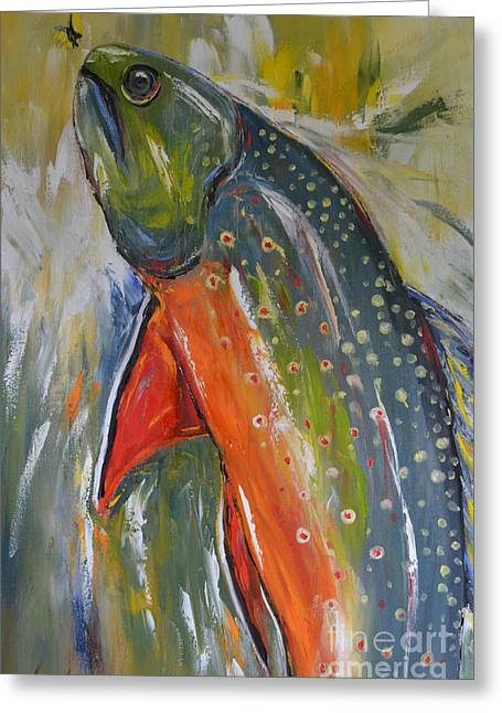 Wild Horses Greeting Cards - Brook Trout Greeting Card by Cher Devereaux