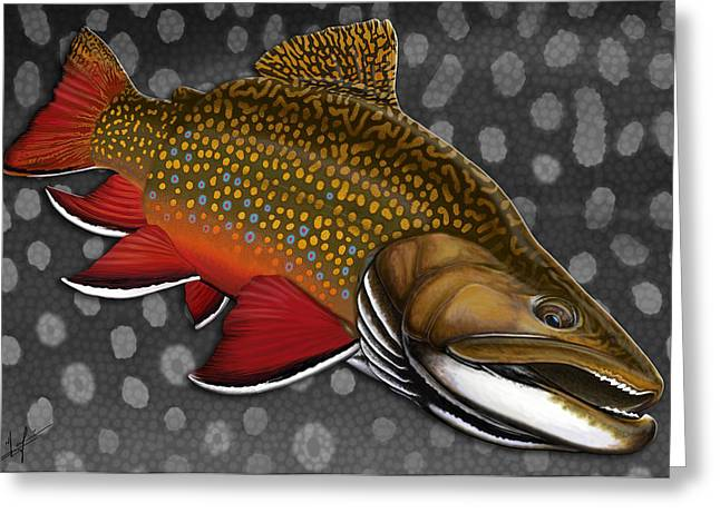 Trout Digital Greeting Cards - Brook Trout  Greeting Card by Nick Laferriere