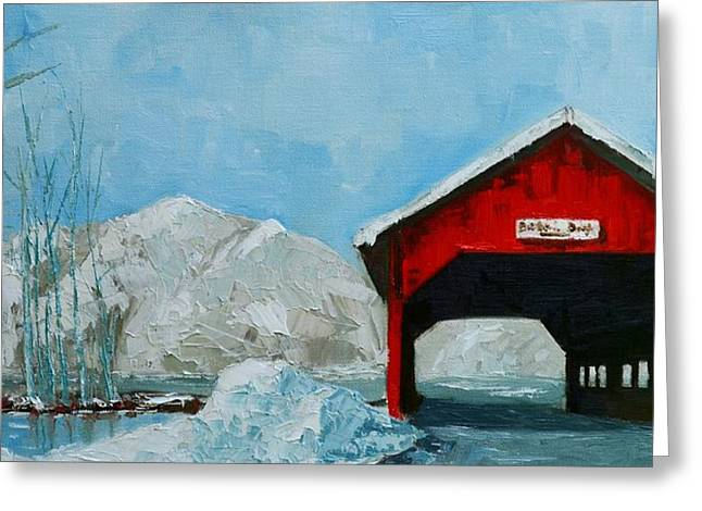Nature Scene Paintings Greeting Cards - Brookdale Bridge Vermont Stowe Winter Scene Greeting Card by Patricia Awapara
