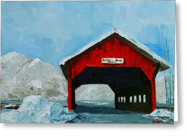 Painted Wood Paintings Greeting Cards - Brookdale Bridge Vermont Stowe Winter Scene Greeting Card by Patricia Awapara
