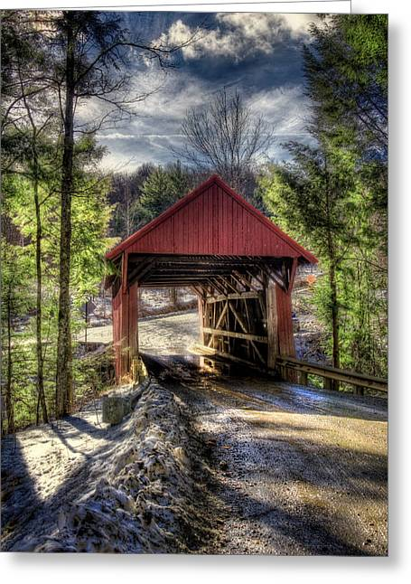 New England Snow Scene Greeting Cards - Sterling Covered Bridge - Stowe Vermont Greeting Card by Joann Vitali