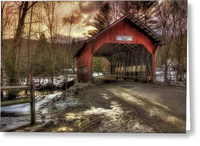 New England Snow Scene Greeting Cards - Brookdale Covered Bridge - Stowe VT Greeting Card by Joann Vitali