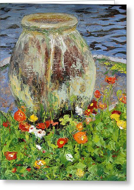 Brookgreen Urn Greeting Card by Cecelia Campbell
