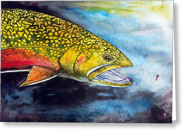 Rainbow Trout Greeting Cards - Brookie And A Midge Greeting Card by Joel DeJong