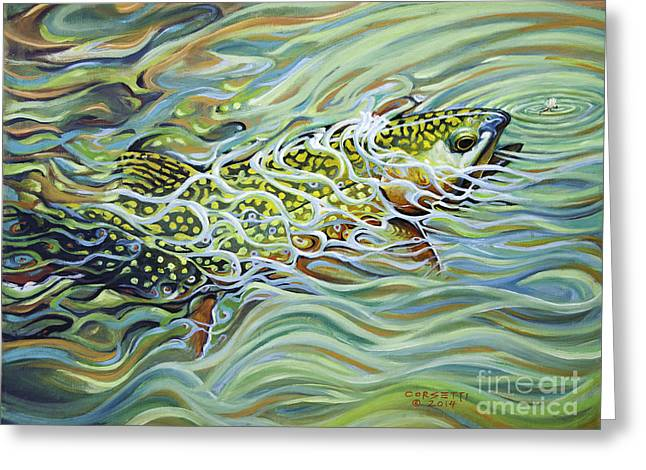 Salmon Paintings Greeting Cards - Brookie flash Greeting Card by Rob Corsetti