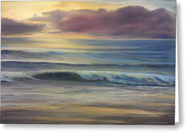 Setting Pastels Greeting Cards - Brookings Beach After The Storm Greeting Card by Pamela Heward