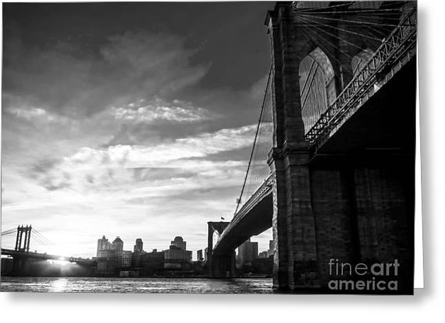 Historic Home Greeting Cards - Brooklyn and Manhattan Bridges in Black and White Greeting Card by James Aiken