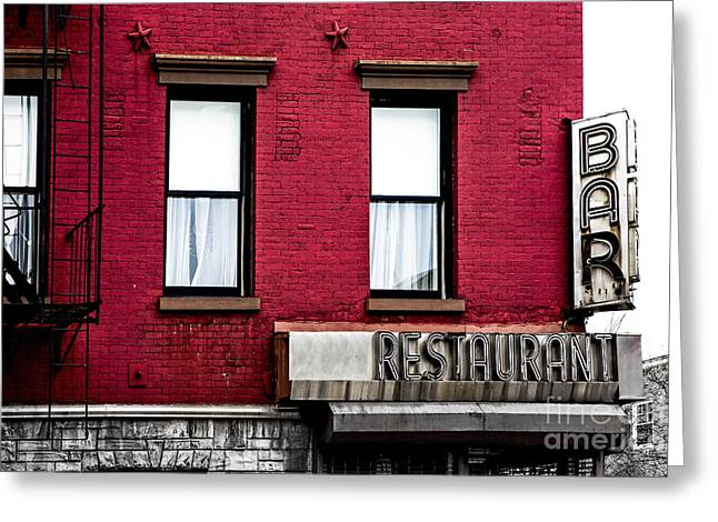 Fire Escapes Greeting Cards - Brooklyn Bar Greeting Card by Diane Diederich
