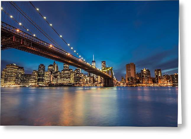 Piling Greeting Cards - Brooklyn Bridge - Manhattan Skyline Greeting Card by Larry Marshall