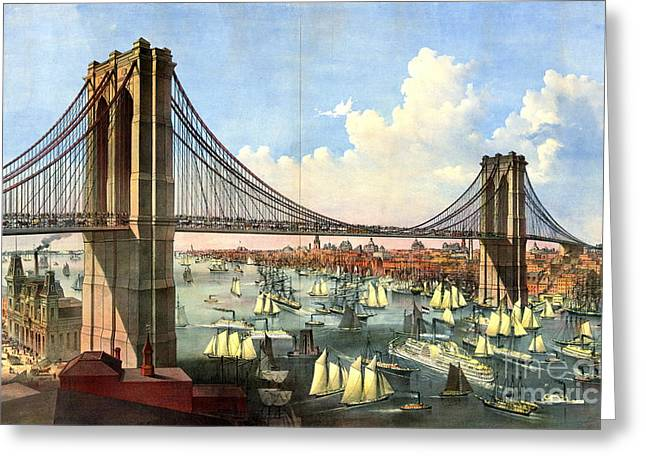 Brooklyn Bridge 1874 Greeting Card by Padre Art