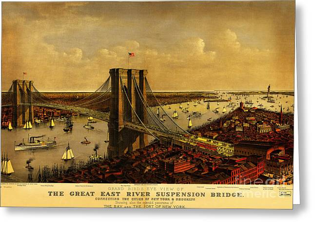 Currier Paintings Greeting Cards - Brooklyn Bridge 1885 Greeting Card by Currier and Ives