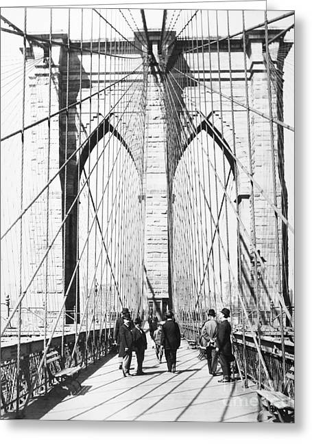 Brooklyn Promenade Greeting Cards - Brooklyn Bridge, 1893 Greeting Card by Granger
