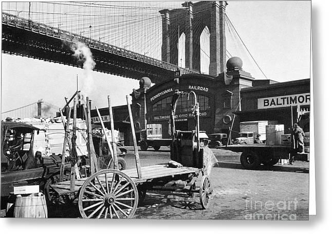 American Bridge Company Greeting Cards - Brooklyn Bridge, 1937 Greeting Card by Granger