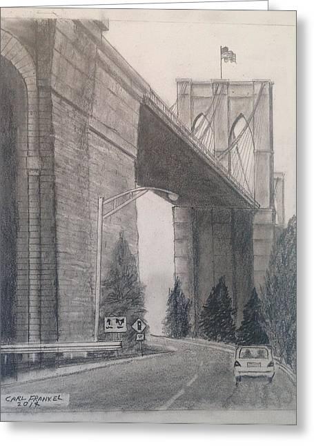 Roadway Drawings Greeting Cards - Brooklyn Bridge third Greeting Card by Carl Frankel