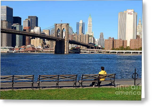 Knicks Greeting Cards - Brooklyn Bridge 6 Greeting Card by Bob Stone