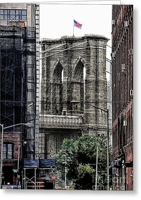 Knicks Greeting Cards - Brooklyn Bridge 7 Greeting Card by Bob Stone