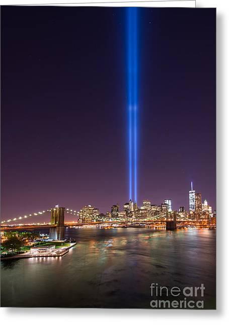 Manhatan Greeting Cards - Brooklyn Bridge 911 Vertical Greeting Card by Michael Ver Sprill
