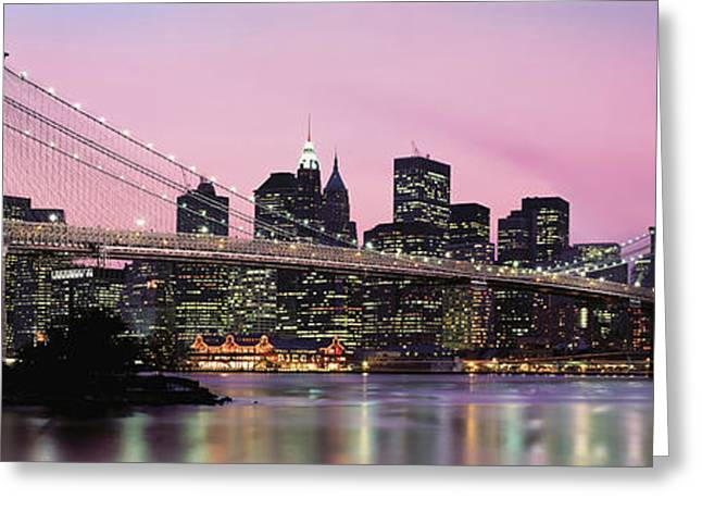 Building Exterior Photographs Greeting Cards - Brooklyn Bridge Across The East River Greeting Card by Panoramic Images