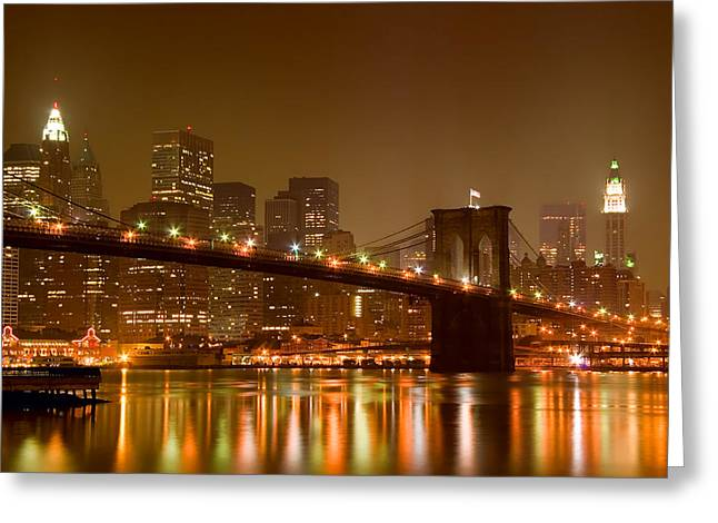 Nighttime Greeting Cards - Brooklyn Bridge and Downtown Manhattan Greeting Card by Val Black Russian Tourchin