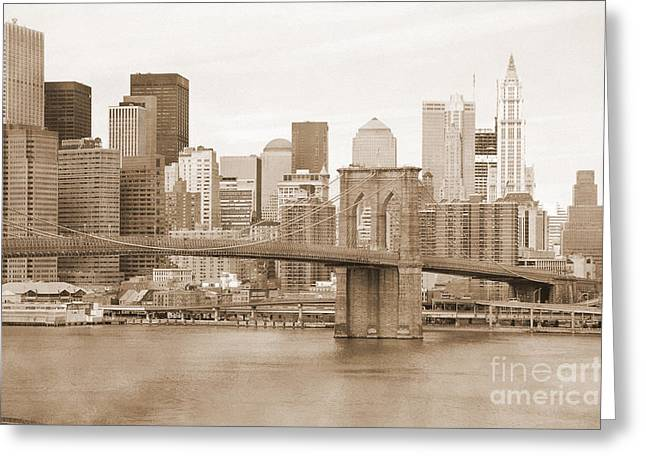 City Skylines Greeting Cards Greeting Cards - Brooklyn Bridge and Manhattan vintage Greeting Card by RicardMN Photography