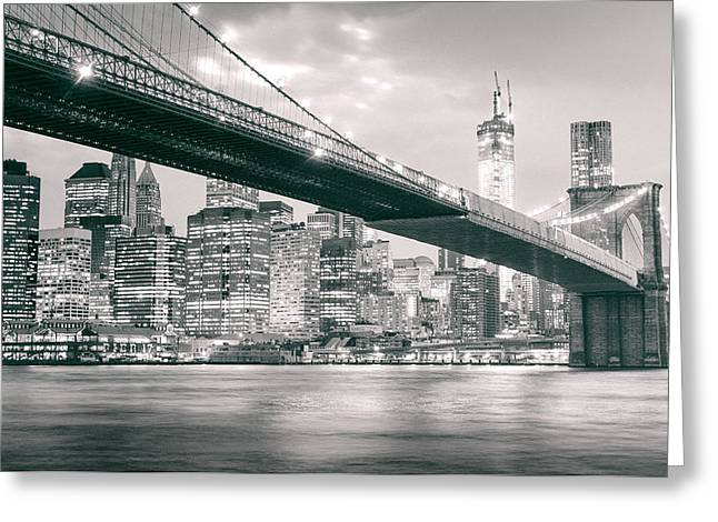 Brooklyn Bridge And New York City Skyline At Night Greeting Card by Vivienne Gucwa