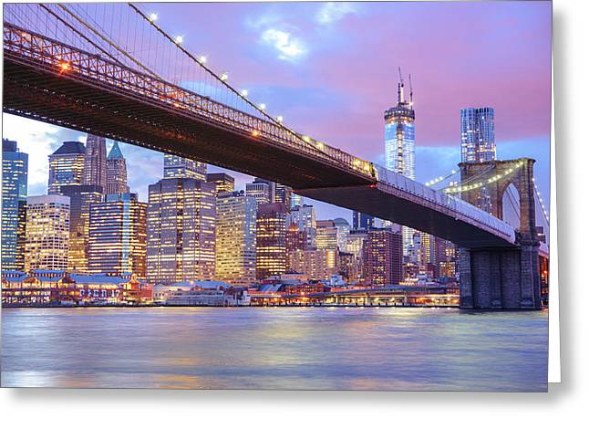 Nyc Architecture Greeting Cards - Brooklyn Bridge and New York City Skyscrapers Greeting Card by Vivienne Gucwa