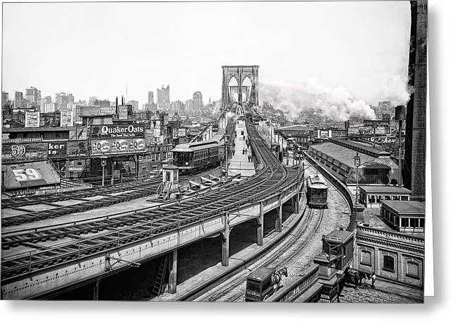 Brooklyn Bridge And Terminal - 1903 Greeting Card by Daniel Hagerman