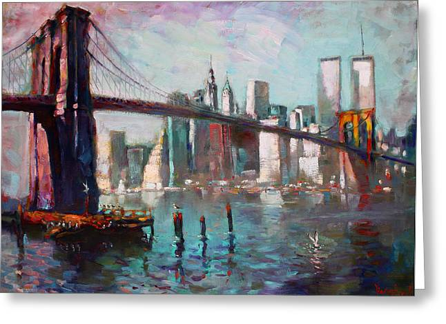 Twin Towers Greeting Cards - Brooklyn Bridge and Twin Towers Greeting Card by Ylli Haruni