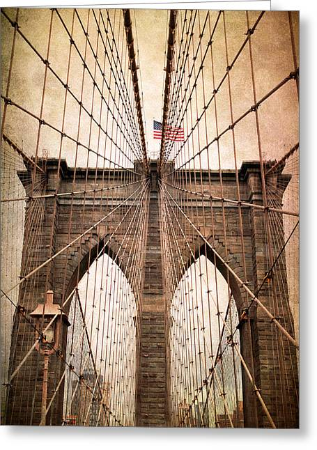 Famous Bridge Greeting Cards - Brooklyn Bridge Approach Greeting Card by Jessica Jenney
