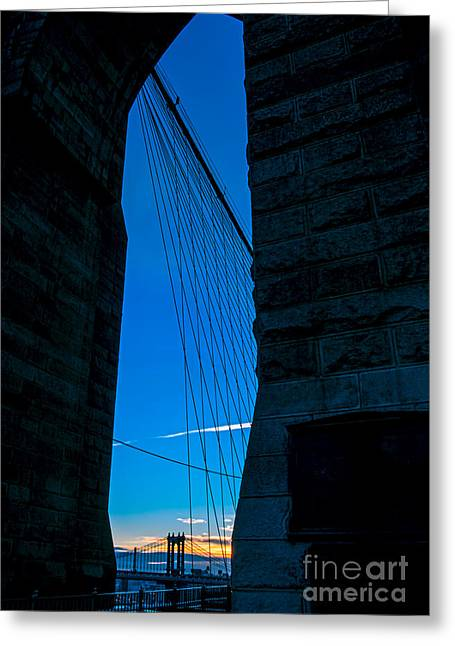 Royal Art Greeting Cards - Brooklyn Bridge Arch Greeting Card by James Aiken