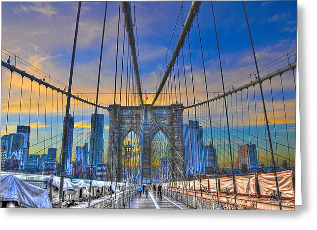 Gloaming Photographs Greeting Cards - Brooklyn Bridge at Dusk Greeting Card by Randy Aveille