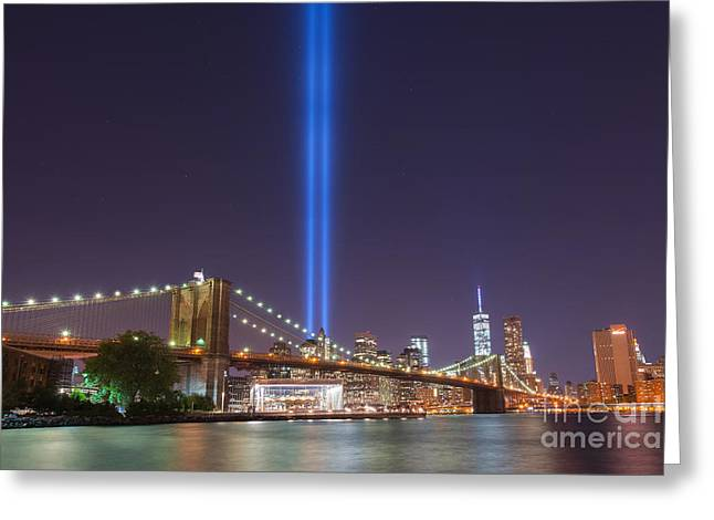 Manhatan Greeting Cards - Brooklyn Bridge At Night Greeting Card by Michael Ver Sprill