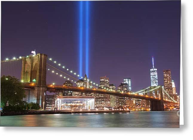 Manhatan Greeting Cards - Brooklyn Bridge At Night wide crop Greeting Card by Michael Ver Sprill