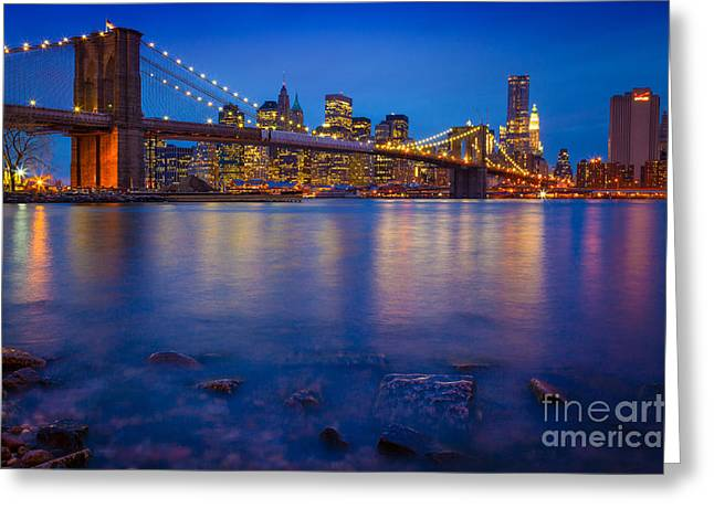 Evening Lights Greeting Cards - Brooklyn Bridge by Night Greeting Card by Inge Johnsson
