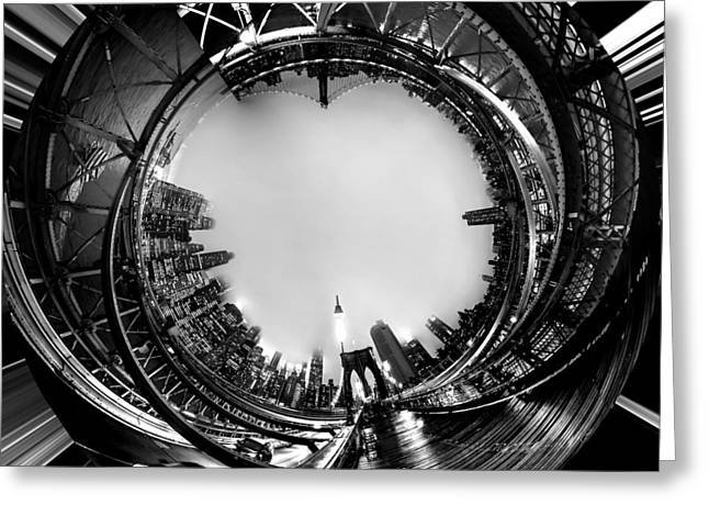 Spheres Greeting Cards - Brooklyn Bridge Circagraph 4 Greeting Card by Az Jackson