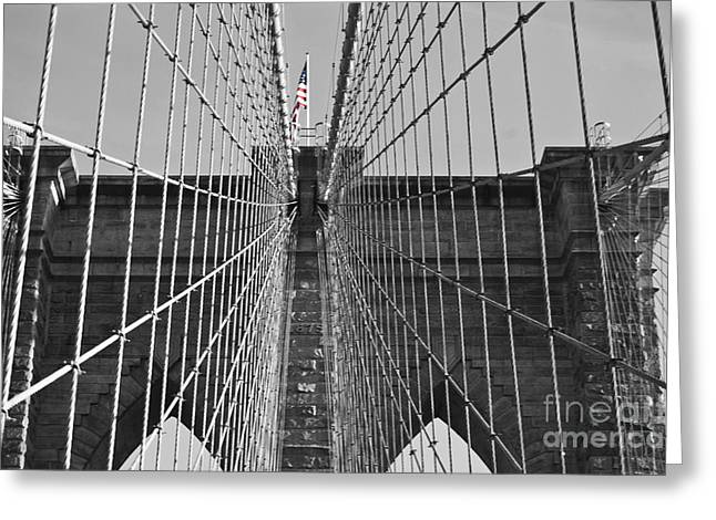 Famous Bridge Greeting Cards - Brooklyn Bridge Color Pop Greeting Card by Steve Purnell