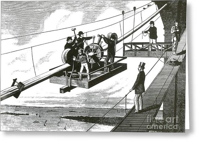 Braiding Greeting Cards - Brooklyn Bridge Construction, 1876 Greeting Card by Science Source